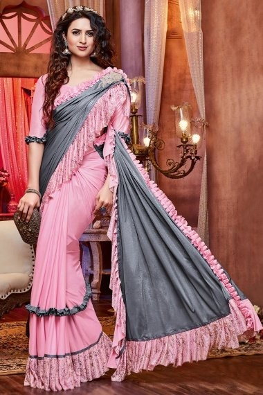 Grey and Pink Imported Ruffle Saree