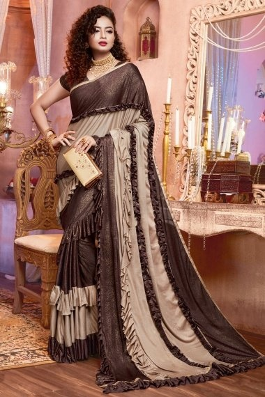 Brown and Beige Imported Saree