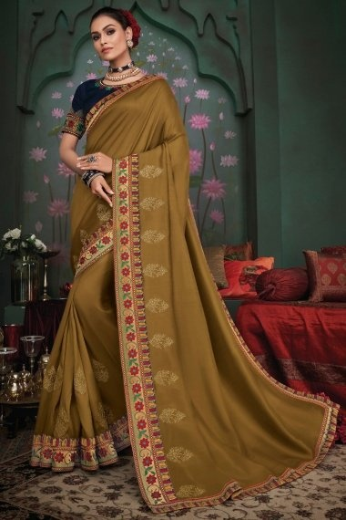 Brown Silk Floral Embroidered Border Saree