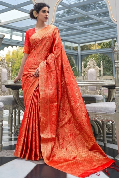 Red Handloom All Over Woven Saree