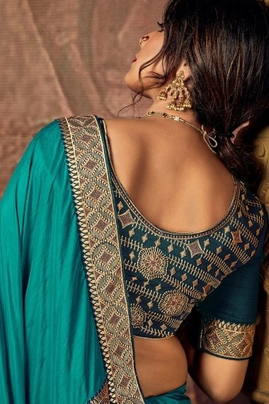 Turquoise Green Art Silk Plain Saree with Embroidery