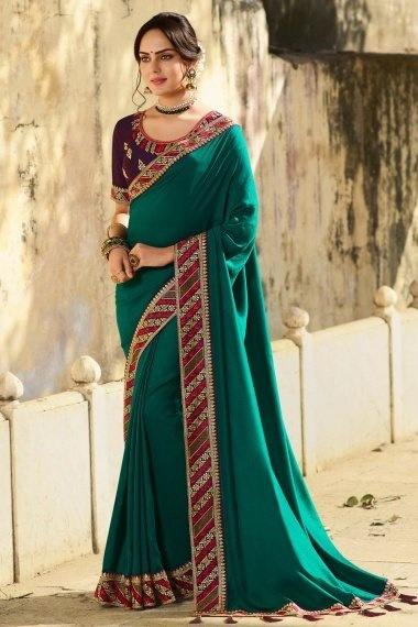 Teal Green Art Silk Plain Saree with Embroidered Border