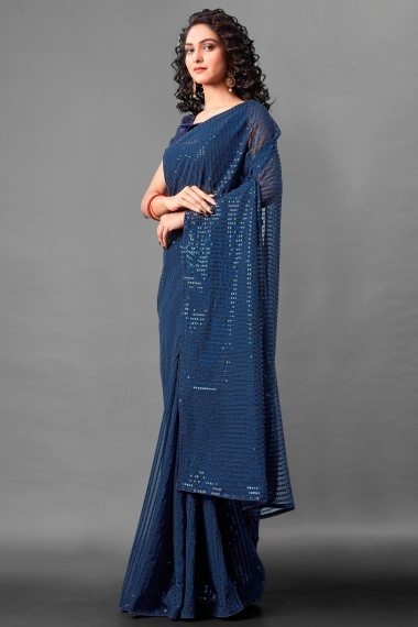 Blue Georgette All Over Sequins Worked Saree