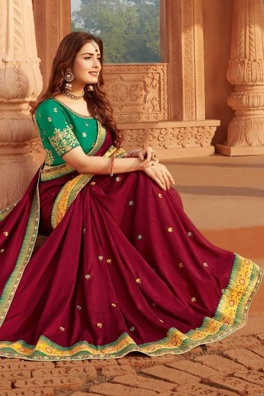 Maroon Silk Embroidered Lace Saree