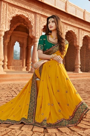 Yellow Silk Saree with Contrast Lace