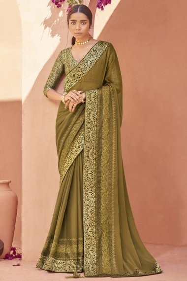 Olive Green Chiffon Saree with Embroidery