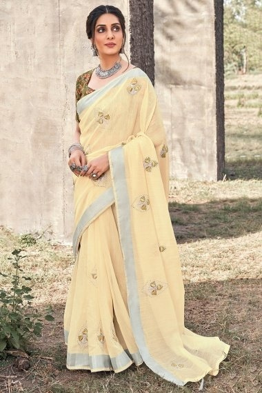 Cream Linen Saree with Embroidery