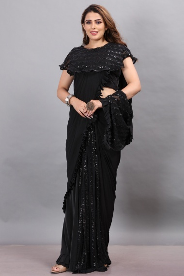 Black Imported Lycra Saree with Fancy Blouse