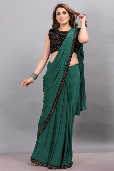 Green Imported Lycra Pre Stitched Saree