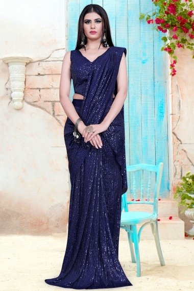 Blue Imported Lycra Sequins Worked Saree