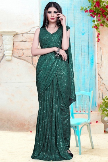 Rama Green Imported Lycra Sequins Worked Saree