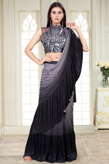 Grey and Black Imported Lycra Ruffle Saree