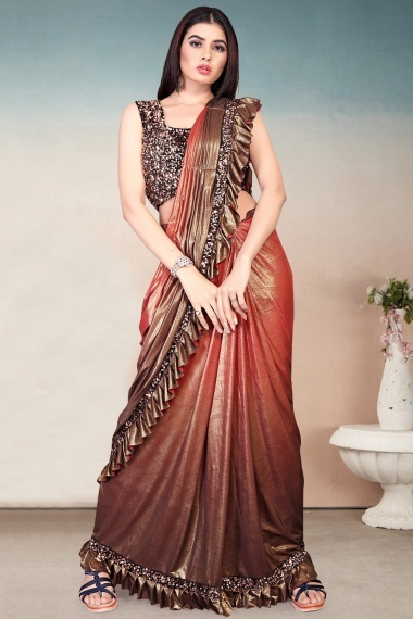 Orange and Brown Imported Lycra Ruffle Saree