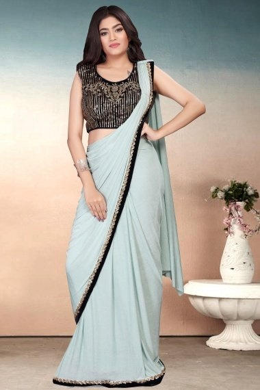 Light Mint Green Imported Pre Stitched Saree