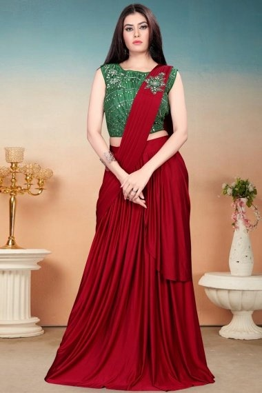 Red Imported Pre Stitched Fancy Saree