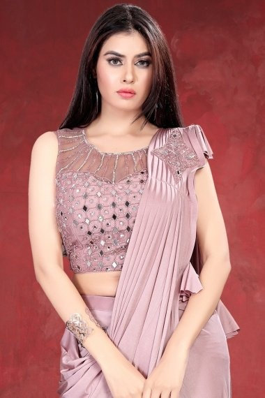 Dusty Peach Imported Pre Stitched Saree