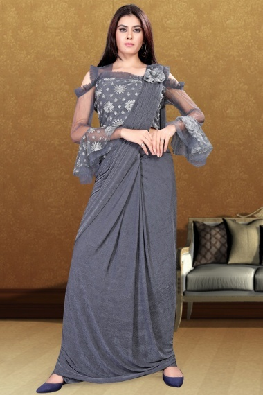Grey Imported Pre Stitched Saree