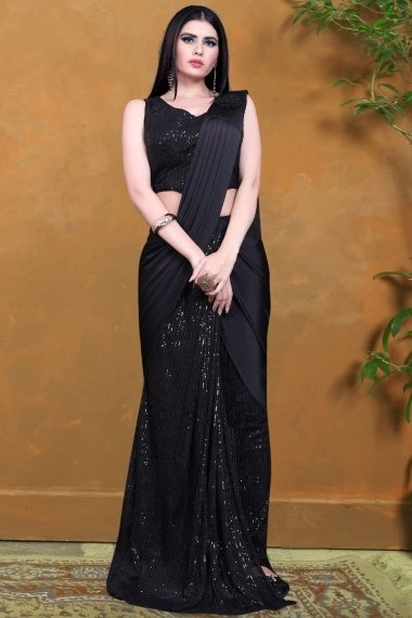 Balck Imported Sequins Worked Pre Stitched Saree