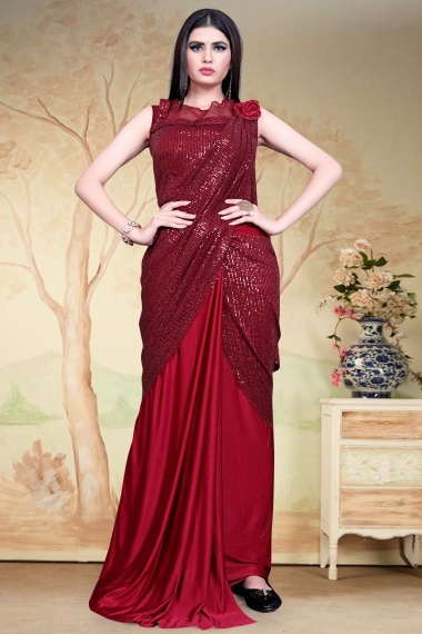 Maroon Imported Pre Stitched Saree