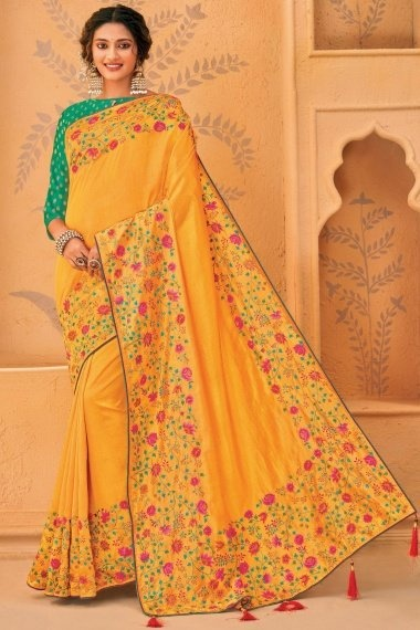 Yellow Silk Floral Embroidered Saree