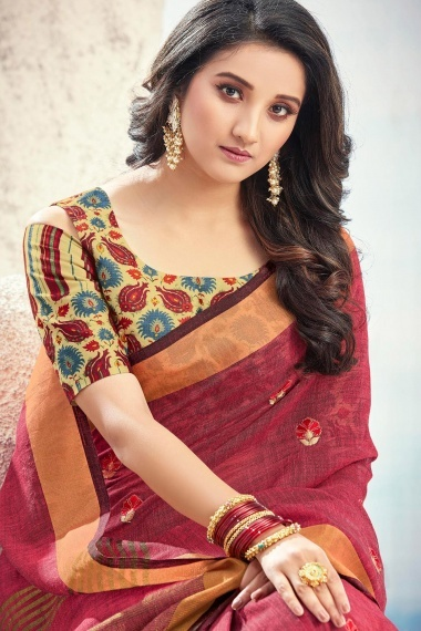 Red Linen Cotton Saree with Cold Shoulder Blouse