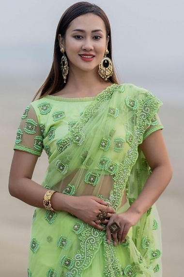 Light Green Net Saree with Pearls Work