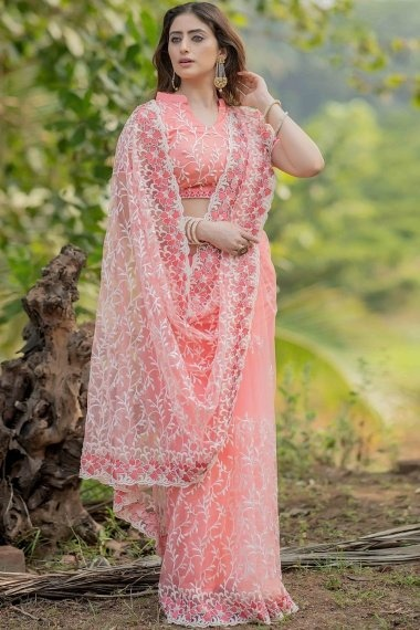 Baby Pink Net Embroidered Saree