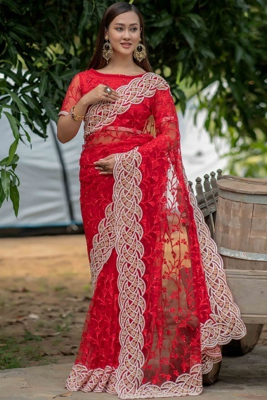 Red Net Saree with Pearls Work