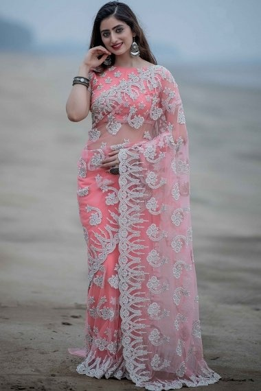 Light Pink Net Saree with All Over Pearls Work