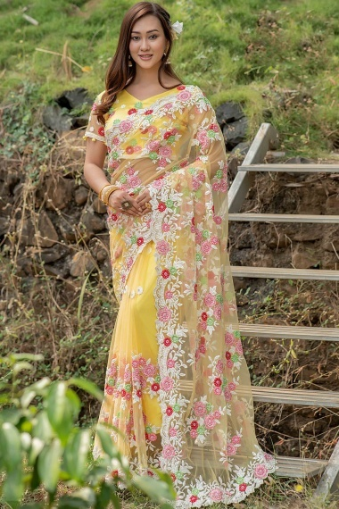 Light Yellow Net Saree with Floral Embroidery