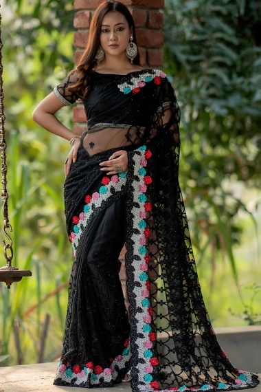 Black Net Embroidered Saree with Floral Border