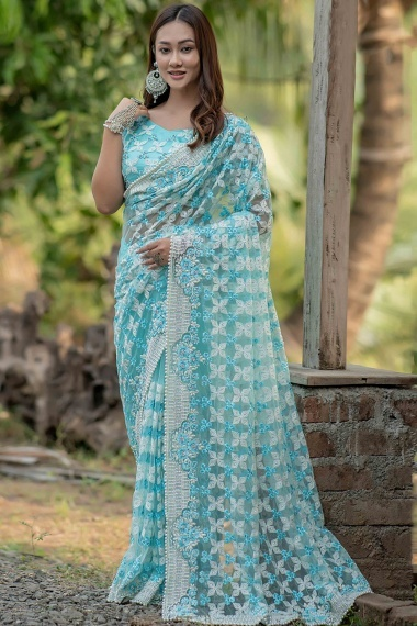 Sky Blue Net Floral Embroidered Saree