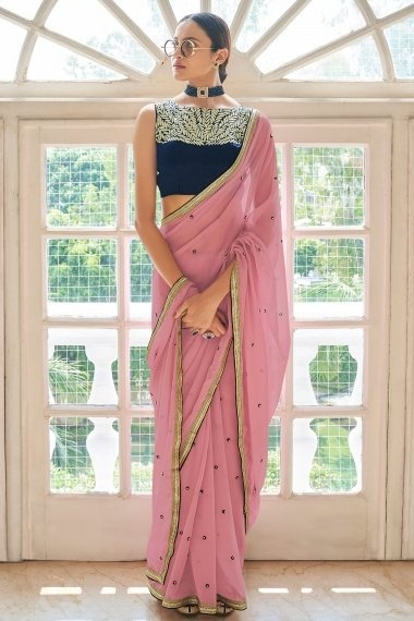 Pink Georgette Embroidered Butti Saree