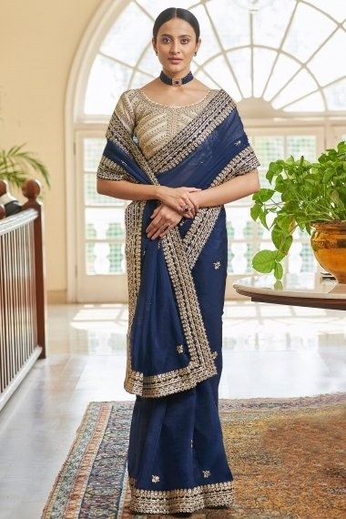 Blue Organza Saree with Embroidered Border