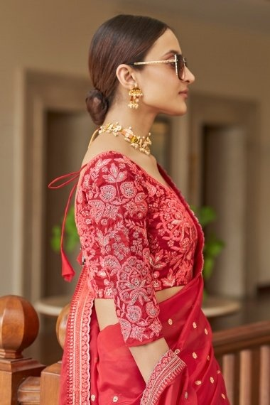 Red Organza Saree with Sequins Work