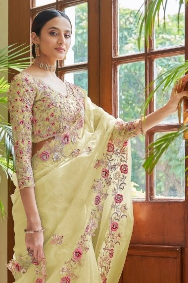 Lime Yellow Organza Embroidered Saree