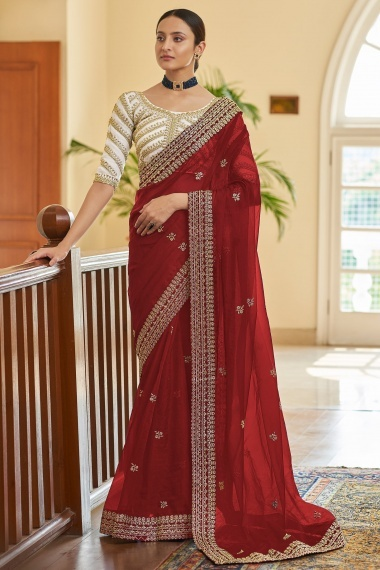 Red Organza Embroidered Bordered Saree