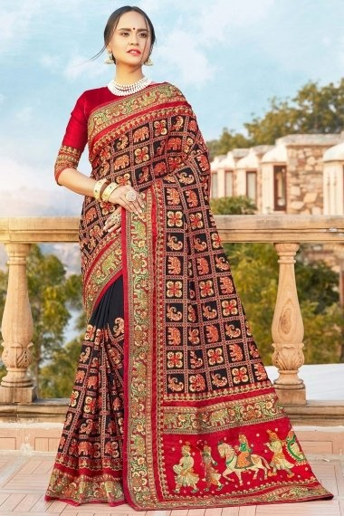 Black and Red Satin Silk Embroidered Saree
