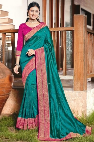 Teal Green Art Silk Saree with Woven Lace