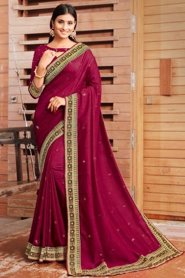Silk Saree with Woven Lace
