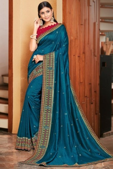 Teal Blue Art Silk Saree with Woven Lace