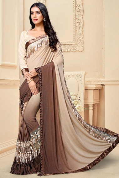 Beige and Brown Lycra Frill Bordered Saree