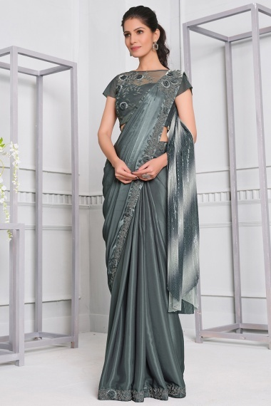 Grey Georgette Silk Saree with Lace