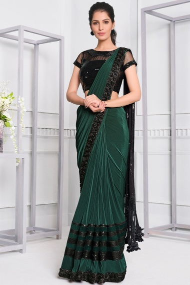 Green Lycra Saree with Lace