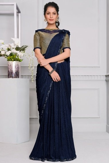 Blue Lycra Fancy Saree with Patch Work