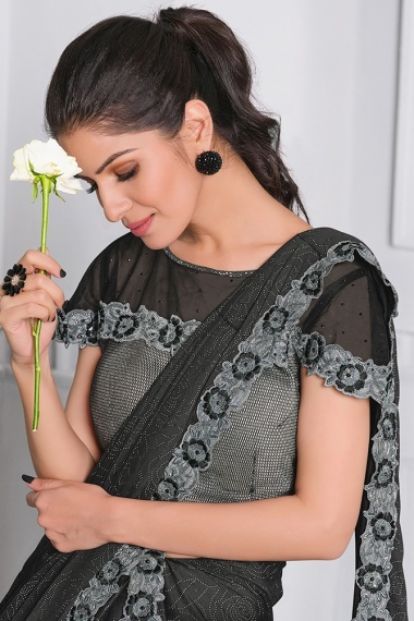 Black Lycra Saree with Lace