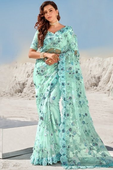 Sea Green Net Saree with Sequins Work