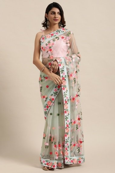 Sage Green Net Floral Embroidered Saree