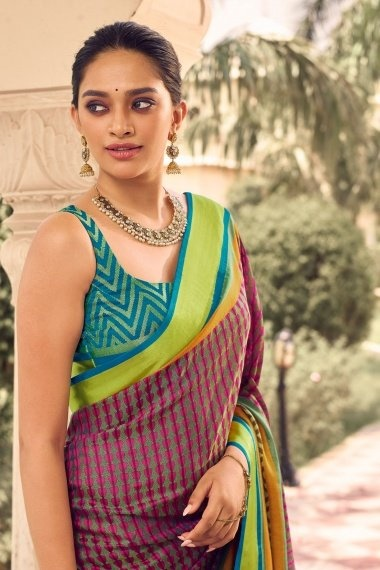Pink and Green Brasso Woven Saree