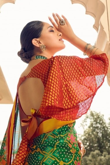 Green Brasso Saree with Weaving